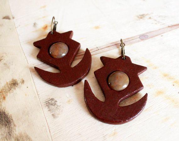 Brown jade earrings healing crystal earrings by TACEHandmade