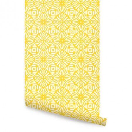 Yellow Geo Flowers Wallpaper
