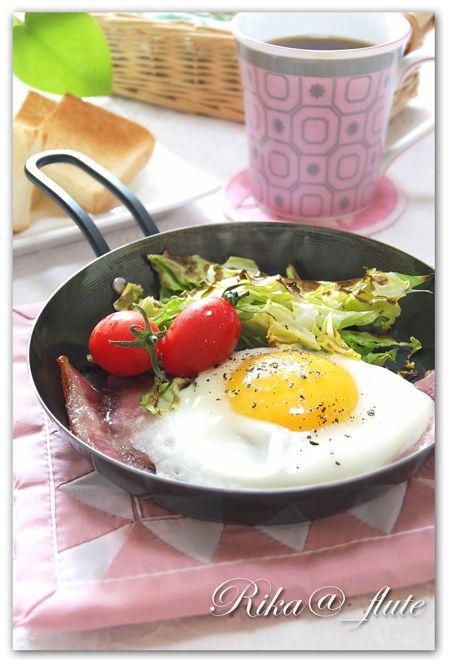 ミニフライパンで簡単朝ごはん : Rika@_flute Cooking♪