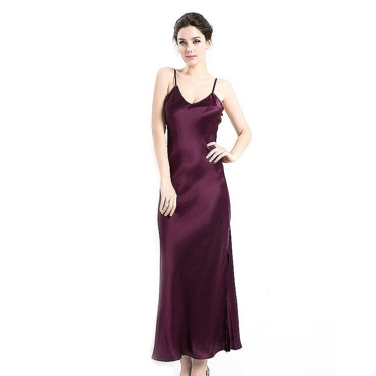 22 Momme Flull Length Spaghetti Strap Silk Nightgown