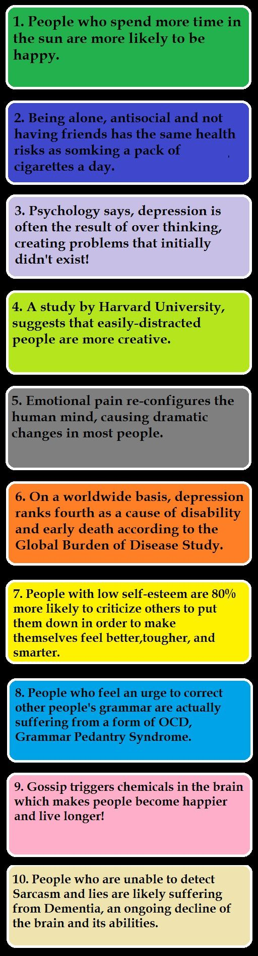 10 psychological facts