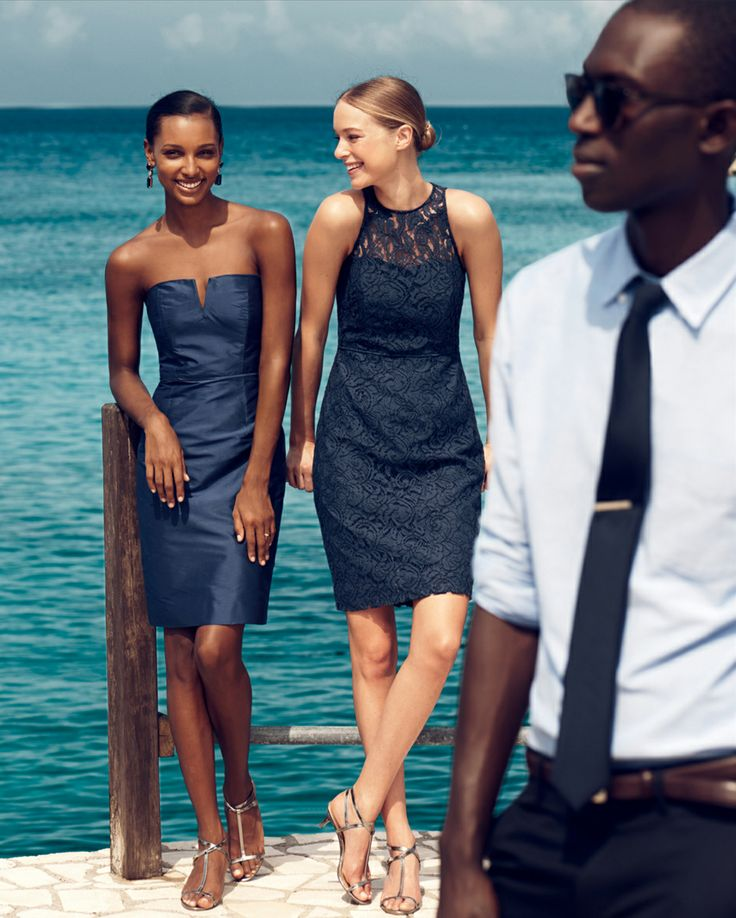 Looking for a wedding dress that transitions from summer to fall? Try one of these navy beauties!