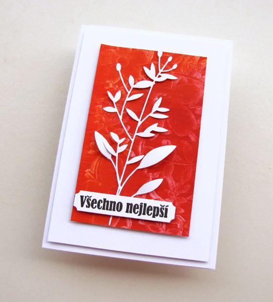 VyZa. Card. Flower. Plants. Škrobové barvy. Starch powder colours.