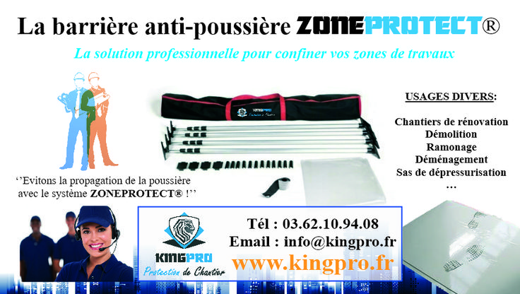 Barrière anti-poussière ZONEPROTECT - Cloison souple de chantier - Confinement souple pour hôpitaux et environnements contrôlés : www.kingpro.fr - info@kingpro.fr - Tél : 03.62.10.94.08