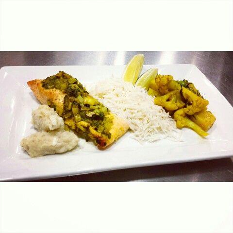 Aloo gabi, grilled fish in banana leaf potato Pachadi