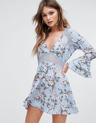 Boohoo Floral Print Lace Insert Skater Dress