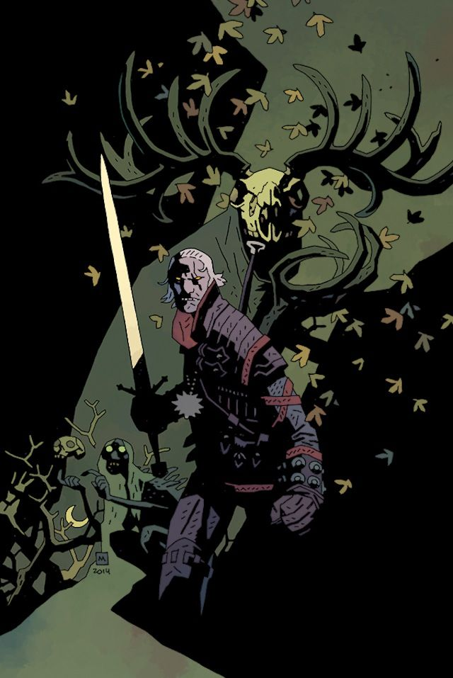"Geralt of Rivia for Dark Horse Comics' ""The Witcher"" #1 alternate cover by Mike Mignola."