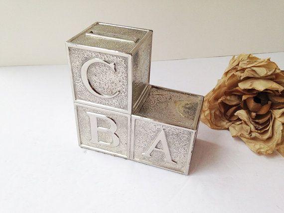 Silver Baby Blocks Bank / Baby Coin Box ~ $16US (reg. price) + shipping - Check for Sales! ~ #babybank #silverbabybank #silvercoinback #aandsvintage #vintage #retro #vintagedecor #homedecor #homedecoration #vintagekitchen #vintagejewelry #vintagelove #vintagehome #vintagefinds #vintageshop #vintagestore #etsy #etsyfinds #etsyshop #etsystore #etsyseller  #etsyvintage #etsylove #forsale #ottawavintage