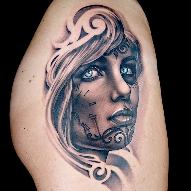 Surrealistic Female tattoo by Anthony Michaels. Ink Master. Spiketv
