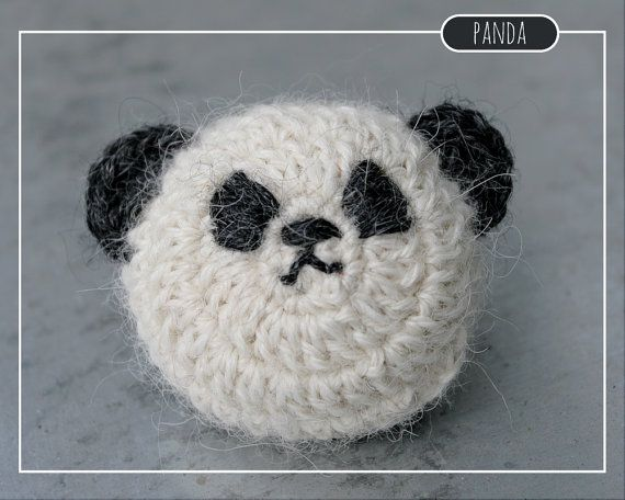 Tiny crocheted Panda toy//brooch//magnet made by MalnaMarket