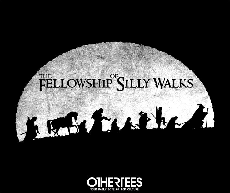 """THE FELLOWSHIP OF SILLY WALKS"" by IKADO T-shirts, Tank Tops, V-necks, Hoodies and Sweatshirts are on sale until October 10th at www.OtherTees.com #tshirt #othertees #clothes #popculture #lotr #lordoftherings #tolkien #books #movies #montypython #funny #parody #gandalf #hobbit #ministryofsillywalks"