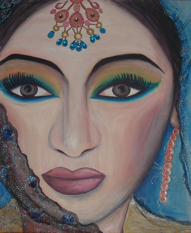 Portret schilderij van een Indiase bruid