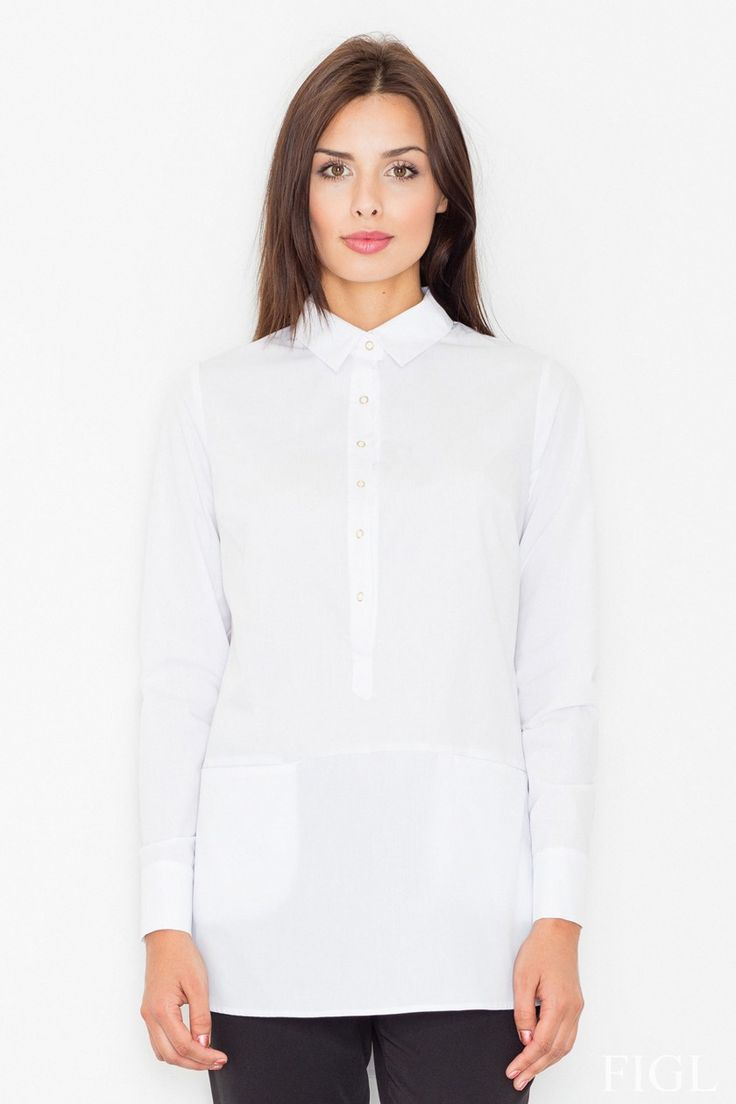 Jednofarebná, geniálne jednoduchá predĺžená košeľa s vreckami na prednom diely…