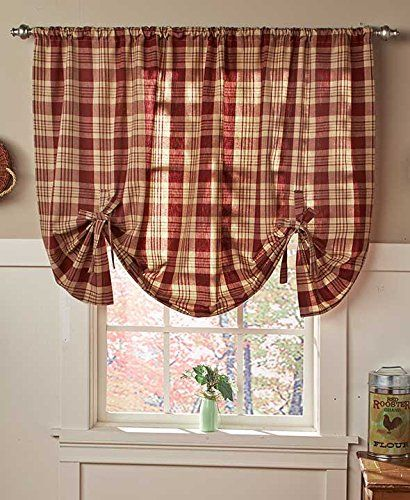 Belk Kitchen Curtains: Country Check Tie-Up Window Curtain (Burgundy)