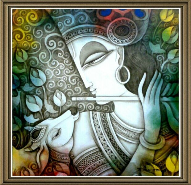 """Krishna with Cow Code :1366Size :30"""" x 30""""Medium :Acrylic on Canvas   SOLD"""