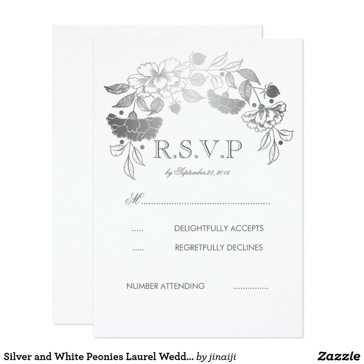 Silver and White Peonies Laurel Wedding RSVP Cards Silver floral wreath wedding reply cards