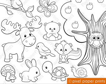 Sea Animals Digital Stamps  Clipart