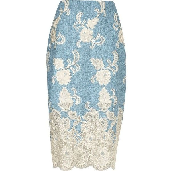 River Island Light blue floral lace pencil skirt ($90) ❤ liked on Polyvore featuring skirts, blue, midi skirts, women, floral-print pencil skirts, blue midi skirt, mid calf pencil skirt, lace skirt and calf length pencil skirt