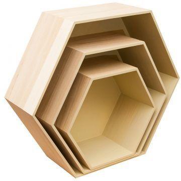 6 Eck Holzkisten 3er Set creme Regal Dekokorb Wabe Dekokiste Holzkorb Aufbewahrungskiste Wandregal Stapelbar