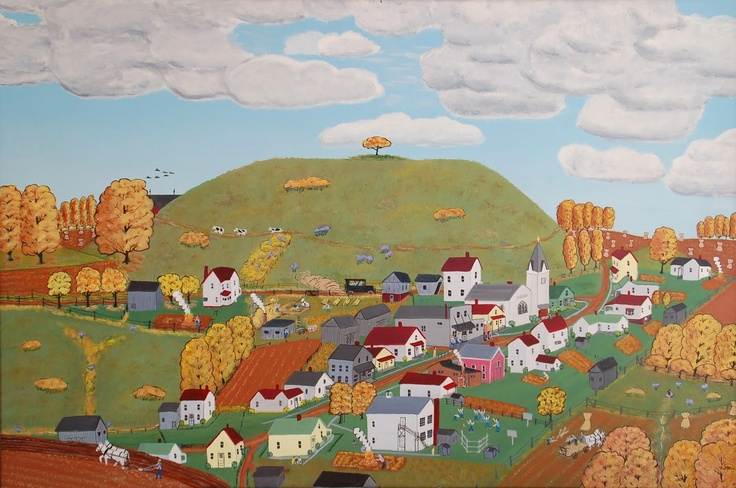 """Buttoning Down for Winter, 24x36, 1989. Paul Patton (1921–1999) of Bedford, Ohio, from """"Rix Mills Remembered."""" via Lindsay Gallery, Columbus, Ohio."""