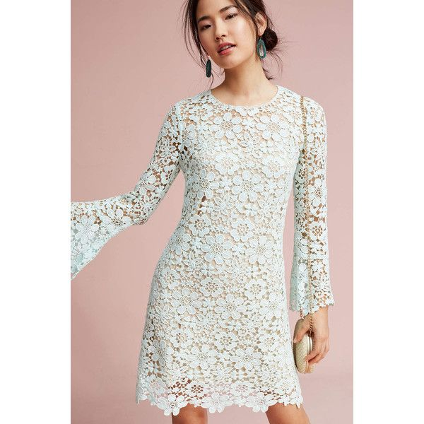 Shoshanna Moira Lace Dress ($418) ❤ liked on Polyvore featuring dresses, mint, mint green cocktail dress, lace dress, lacy dress, bell sleeve dress and shoshanna cocktail dresses