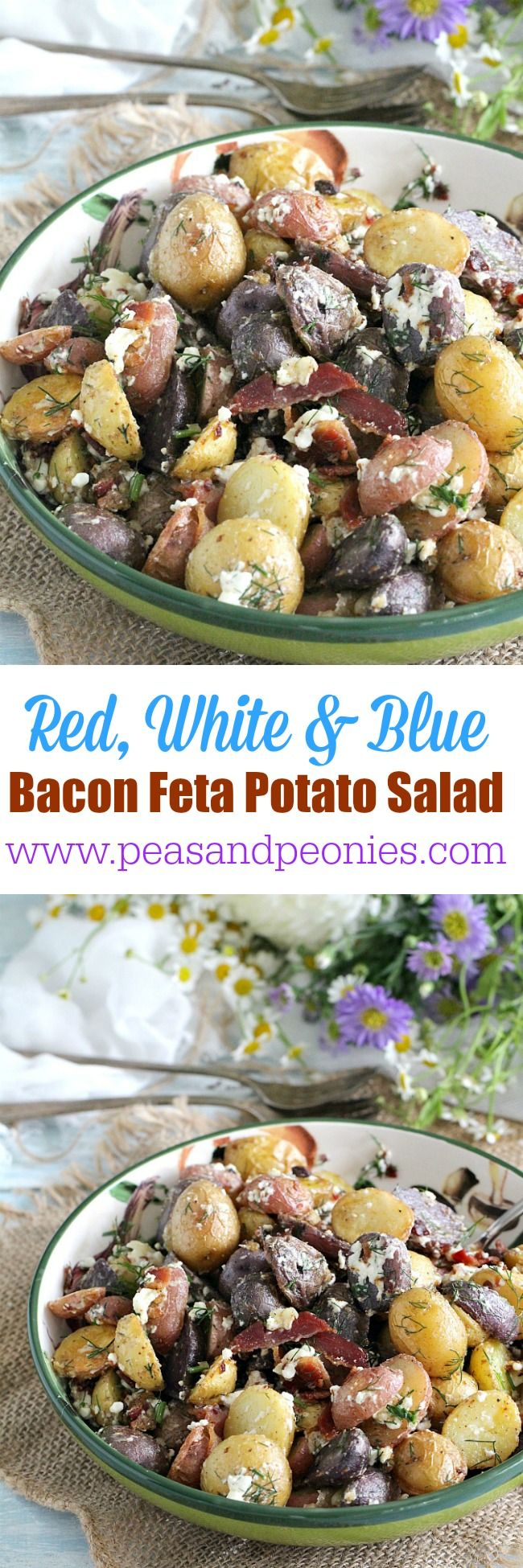 Mayo free and gluten free this Red, White and Blue Bacon Feta Potato Salad is tender, loaded with garlic flavor and beautiful different textures and colors. Peas and Peonies