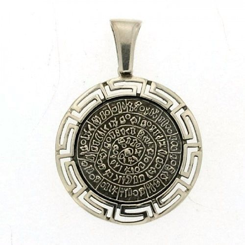 Phaistos disc meander silver pendant greek by ThetisTreasures