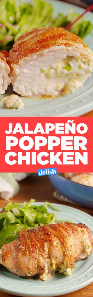 Jalapeño Popper Chicken - Super tasty! I pounded out the chicken first, and then dipped it in barbecue sauce. Depending on what you like for spice, you could definitely add more jalapeño to this!
