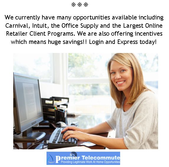New Job Opportunities added to the Jobs Board. Apply Today! We provide training, bonuses and incentives. Work from Earn up to 16 per hour, Taking inbound calls for The fortune 500 companies. No telemarketing, No Cold Calls, Inbound Calls Only!  www.premiertelecommute.com #jobs #work #seasonaljobs #workathomemoms #collegejobs #militaryjobs #callcenferjobs #telecommutr #telejobos