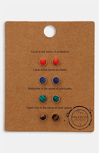 Topshop 'Message' Stud Earrings (Set of 4) available at #Nordstrom