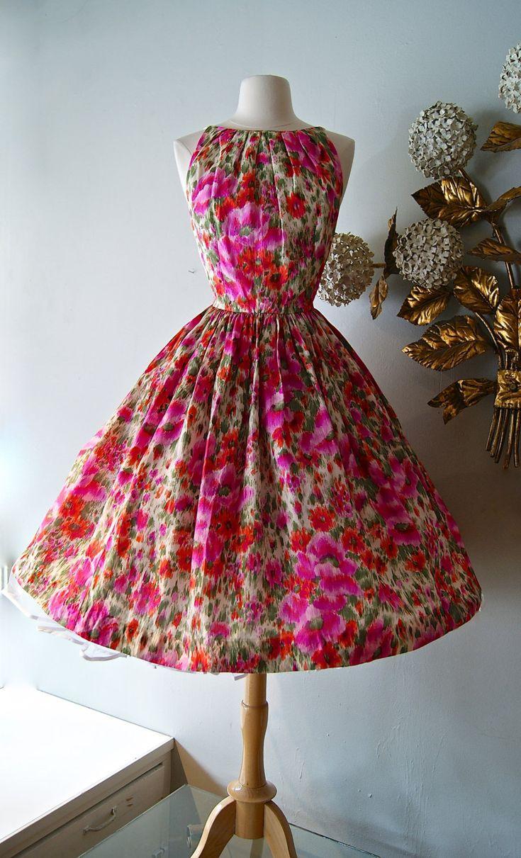 Vintage 1950's Dress ~50s Silk Poppy Print Dress by Mr. Mort ~ Vintage Floral Party Dress by xtabayvintage on Etsy