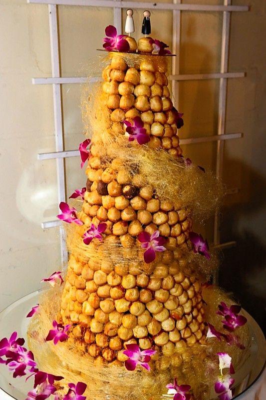 Spectacular croquembouche!  Love the spun sugar garland!