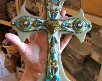 Vintage Victorian Sacred heart gold rhinestones vintage wall hanging Cross