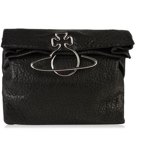 Vivienne Westwood Accessories Oxford Clutch Bag (18,435 MXN) ❤ liked on Polyvore featuring bags, handbags, clutches, black, genuine leather handbags, vivienne westwood, vivienne westwood purse, snap closure purse and genuine leather purse
