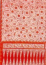 Jarot Asem, Batik Indramayu design. Motifs of batik made in fishing villages are greatly influenced by the flora and the fauna of the surrounding are, for example Jarot Asem (Javanese Tamarind), Dara Kipu. These are all motifs of the coarse and cheaper batik made for common people.