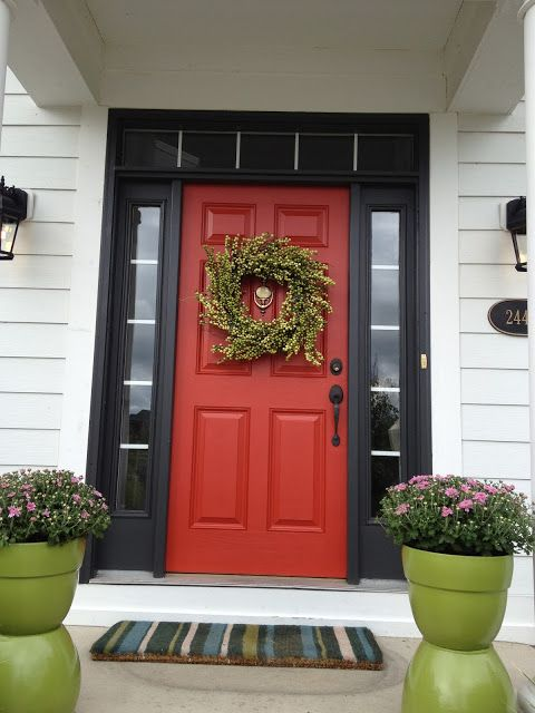 Red Front Door Black Sidelights Trim Country Chic House