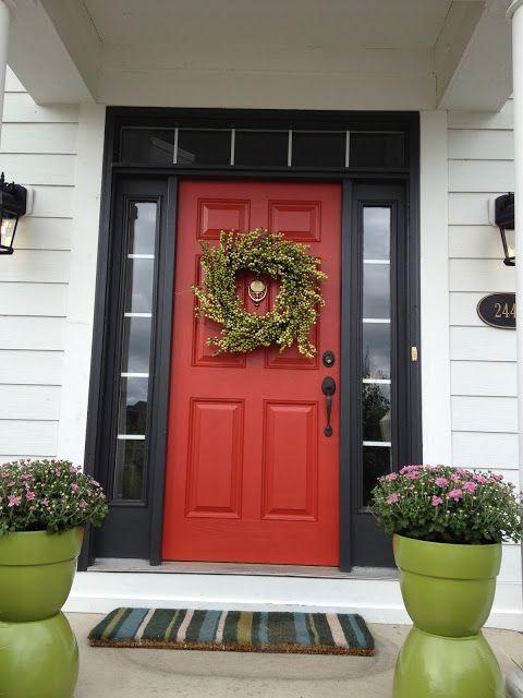 Red front door, black sidelights & trim | Curb Appeal ...