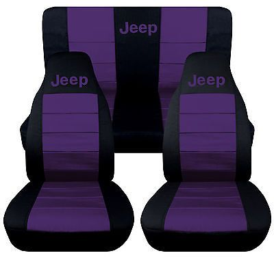 1976-2015 Jeep Wrangler Two Tone Seat Covers Canvas Front & Rear Choose color