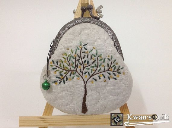 Pebble Purse, Shiny Tree, Hand Embroidered Coin Purse, Quilted coin purse, Metal frame coin purse, Card case on Etsy, $27.55 AUD