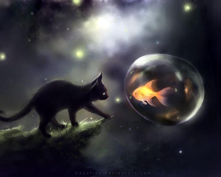 Apofiss kleine schwarze Katze Tapeten Aquarell Abbildungen #1 - 1280x1024