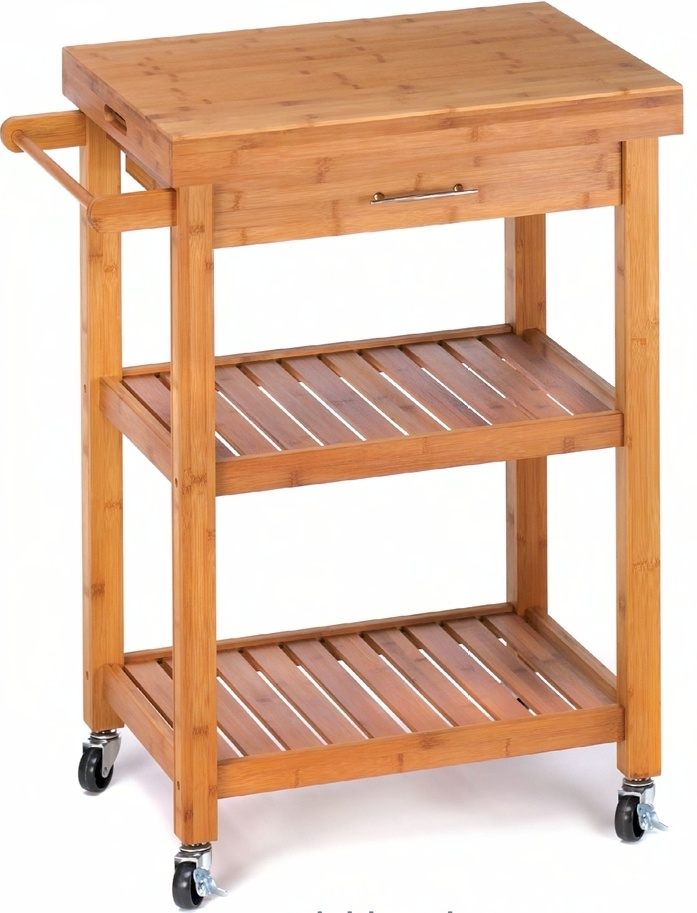 Kyoto Bamboo Kitchen Trolley...  Handy for the chef or bartender in your home, this miniature island easily rolls anywhere in your kitchen. Two shelves, a drawer, a towel bar, removable top converts to tray and easy wheel brakes add to the convenience of the trolley. Bamboo. $179. SALE $128.
