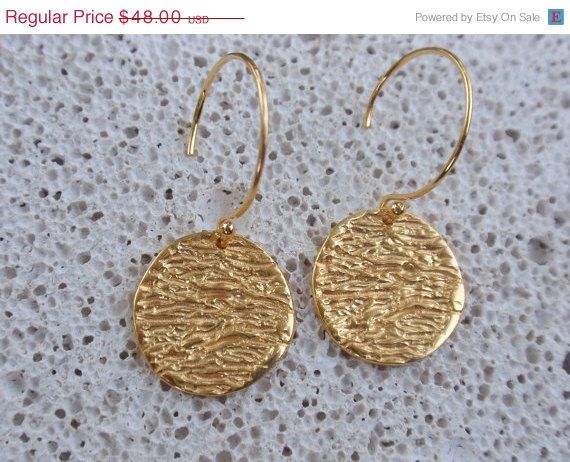 gold dangle earrings 24k gold plated sterling silver by preciousjd
