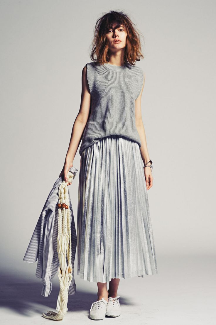 Grey slouchy casual women's fashion | maxi skirt with knit top vest style
