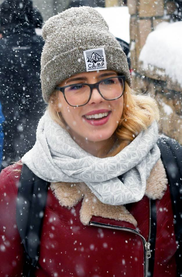 Emily Bett Rickards, well known for playing Felicity Smoak in Arrow and The Flash, was spotted in her own funny story as she hit the snowy streets of Park City, Utah. The 26-year-old Canadian actress wore a stylish Camp Brand Goods beanie with a bright red leather winter jacket as she promoted her new movie Funny Story (2018) #FelicitySmoak #FunnyStory #CampBrandGoods
