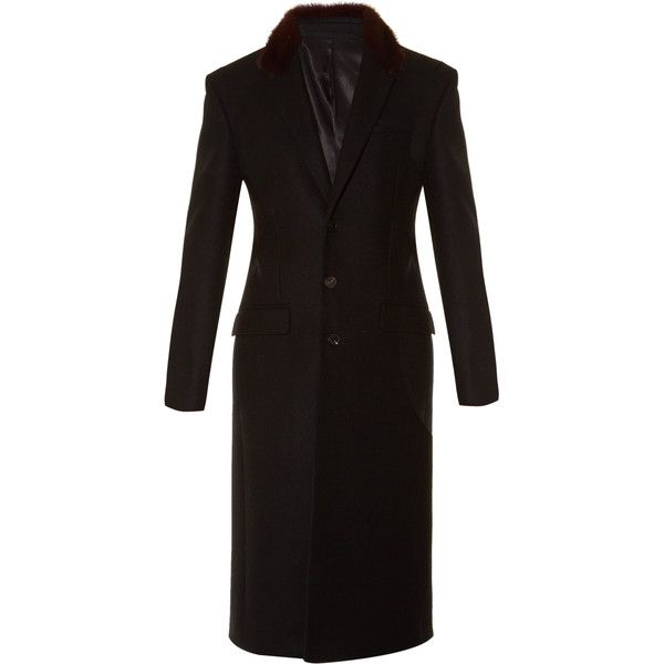 Givenchy Fur-collar single-breasted wool coat ($2,098) ❤ liked on Polyvore featuring men's fashion, men's clothing, men's outerwear, men's coats, men, black multi, mens coats, mens single breasted wool coat, mens long coat and mens single breasted pea coat