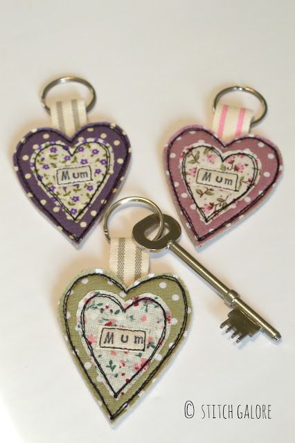 Mother's Day gift. Handmade heart key rings with the word Mum. Decorated with appliqué and embroidery made by Stitch Galore. www.stitchgalore.com