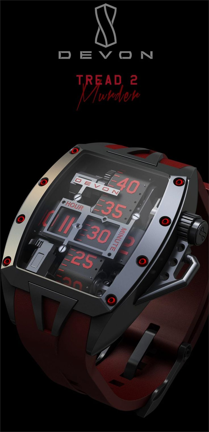 This #elegant, manly #watch displays the time using #Devon's patented time belts. This watch also features a useful #chronograph and can display seconds as well as minutes and hours. All Tread movements use precision-cut #ruby bearings for significantly increased durability and reduced maintenance. Its case is made with the hardest and most corrosion resistant steel available. It's also water proof up to a depth of 10 meters. #Sapphire crystals are used for the lenses. Available for $15,900.