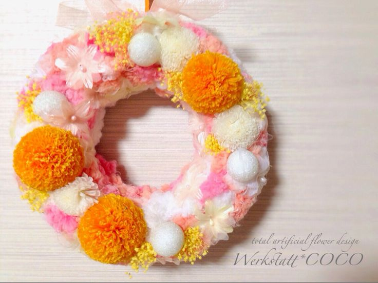 puffy wreath*orange mum http://wercoco.theshop.jp/items/592220
