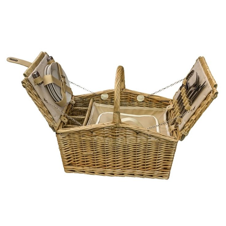 Butterfly Lidded 4 Person Fitted Farmhouse Picnic Basket - http://redhamper.co.uk/butterfly-lidded-4-person-fitted-farmhouse-picnic-basket/  #fittedpicnicbaskets