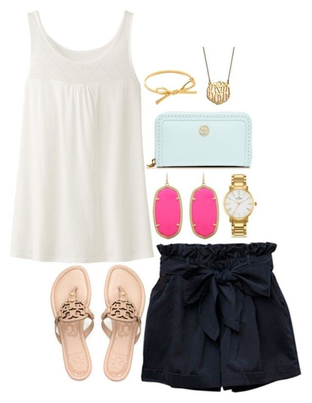 """Kendra Scott"" by the-southern-prep ❤ liked on Polyvore featuring Kendra Scott, Uniqlo, Tory Burch, Kate Spade and BaubleBar"
